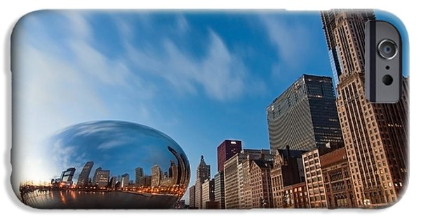 Travel Photographs iPhone Cases - Chicago Skyline and bean at sunrise iPhone Case by Sven Brogren