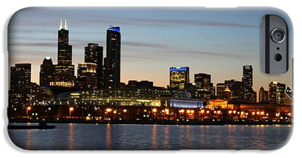Soldier Field iPhone Cases - Chicago Skyline and Soldier Field iPhone Case by Michael Paskvan