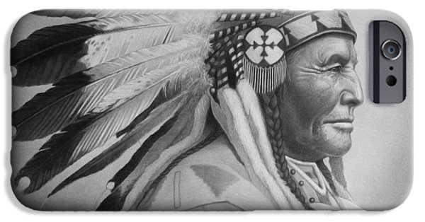 Black Portrait Drawings iPhone Cases - Chief iPhone Case by Tim Dangaran