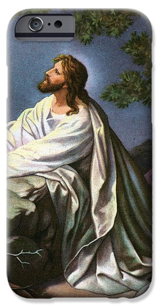 Biblical Drawings iPhone Cases - Christ in the Garden of Gethsemane iPhone Case by Heinrich Hofmann