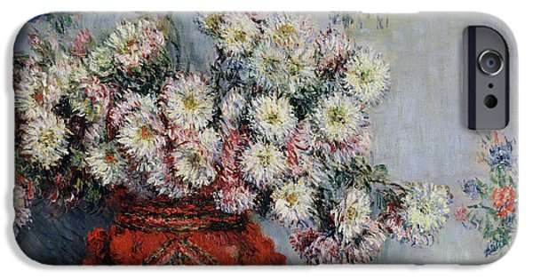 Sign iPhone Cases - Chrysanthemums iPhone Case by Claude Monet
