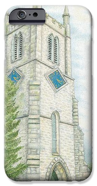 Rural Art iPhone Cases - Church Clock iPhone Case by Sandra Moore