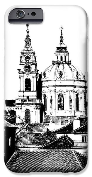 City Scape Drawings iPhone Cases - Church of St Nikolas iPhone Case by Michal Boubin