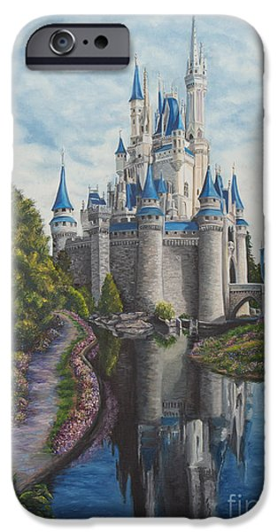 Magic Kingdom iPhone Cases - Cinderella Castle  iPhone Case by Charlotte Blanchard