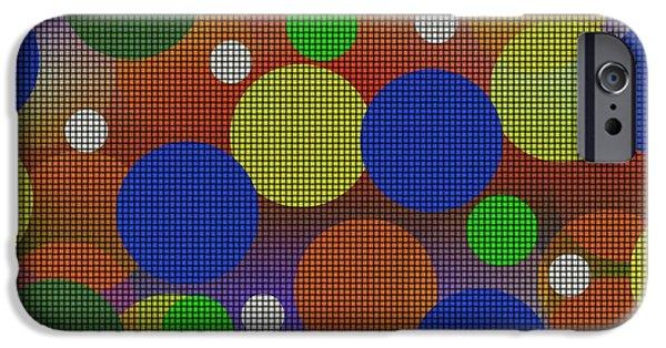 Abstract Digital Art iPhone Cases - Circles iPhone Case by Kathleen Sartoris