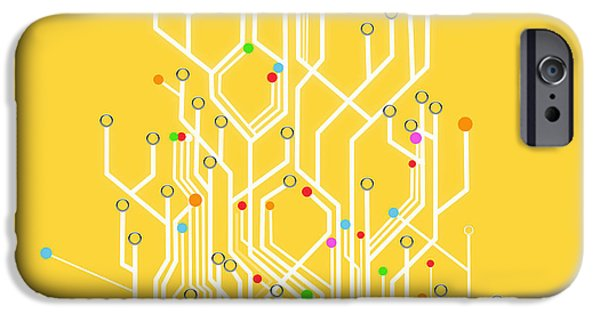 Abstract Digital iPhone Cases - Circuit Board Graphic iPhone Case by Setsiri Silapasuwanchai