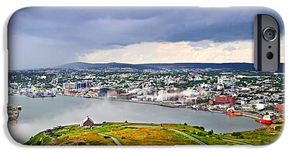 Newfoundland iPhone Cases - Cityscape of Saint Johns from Signal Hill iPhone Case by Elena Elisseeva