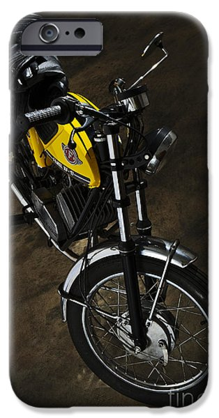Component iPhone Cases - Classic Zundapp bike XF-17 in the garage iPhone Case by Angelo DeVal