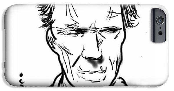 Cinema iPhone Cases - Clint Eastwood iPhone Case by Nuno Marques