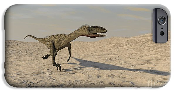 Triassic iPhone Cases - Coelophysis Running Across A Barren iPhone Case by Kostyantyn Ivanyshen