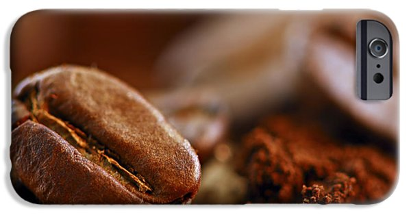Life iPhone Cases - Coffee beans and ground coffee iPhone Case by Elena Elisseeva