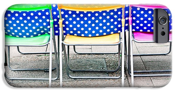 Al Fresco iPhone Cases - Colorful chairs iPhone Case by Tom Gowanlock