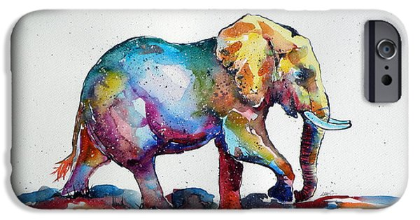 Elephants iPhone Cases - Colorful elephant iPhone Case by Kovacs Anna Brigitta