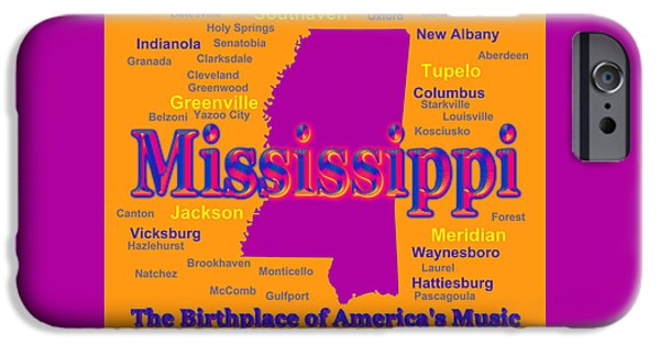 Music Map Digital Art iPhone Cases - Colorful Mississippi State Pride Map Silhouette  iPhone Case by Keith Webber Jr