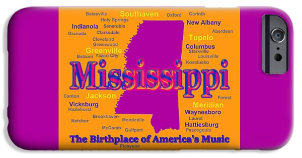 Hattiesburg iPhone Cases - Colorful Mississippi State Pride Map Silhouette  iPhone Case by Keith Webber Jr