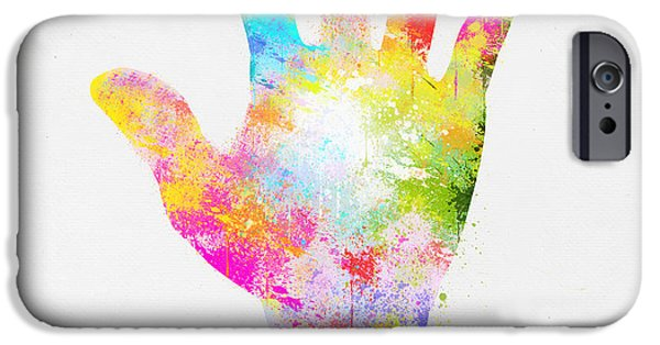 Concept Digital iPhone Cases - Colorful Painting Of Hand iPhone Case by Setsiri Silapasuwanchai