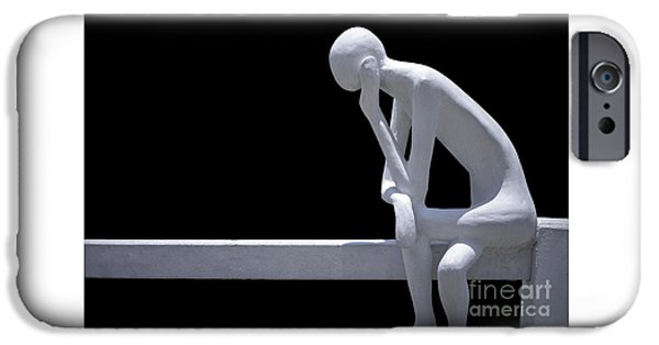Monotone iPhone Cases - Contemplative  iPhone Case by Ray Evans