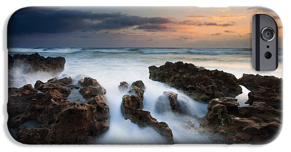 Rocks iPhone Cases - Coral Cove Dawn iPhone Case by Mike  Dawson