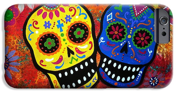 Recently Sold -  - Couple iPhone Cases - Couple Dia De Los Muertos iPhone Case by Pristine Cartera Turkus