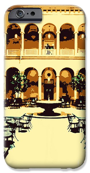 Buildings Mixed Media iPhone Cases - Courtyard iPhone Case by Anne  Alfaro