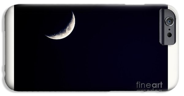 Cut-outs iPhone Cases - Crescent Moon  iPhone Case by Thomas R Fletcher