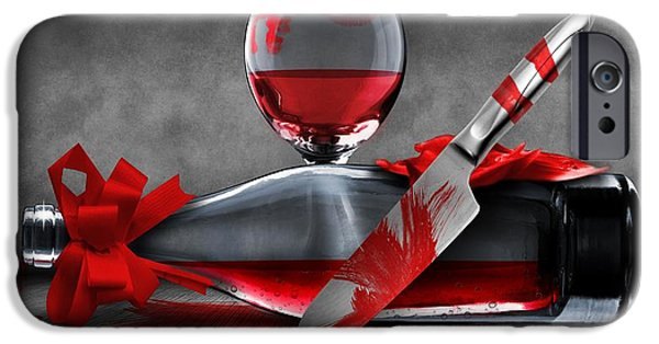 Wine Bottle Paining iPhone Cases - Crime scene iPhone Case by FL collection
