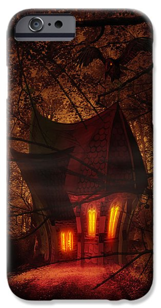Strange Mixed Media iPhone Cases - Crooked House iPhone Case by Svetlana Sewell