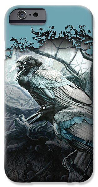 Eerie iPhone Cases - Crow and Raven iPhone Case by Gregory Gopp