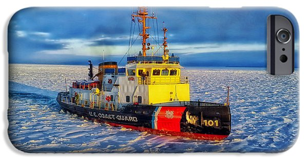Boat iPhone Cases - Cutting Through The Ice On Lake Michigan iPhone Case by Daniel Michelson