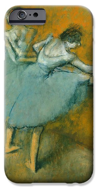 Ballet Dancers iPhone Cases - Dancers at the Barre iPhone Case by Edgar Degas