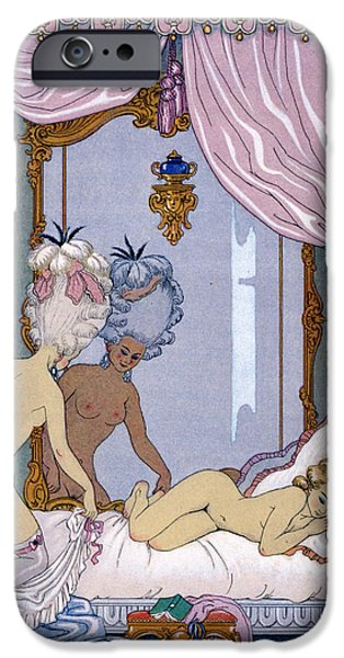 Lesbian Paintings iPhone Cases - Dangerous Liaisons iPhone Case by Georges Barbier