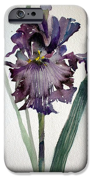 Flora Mixed Media iPhone Cases - Deep Purple iPhone Case by Mindy Newman