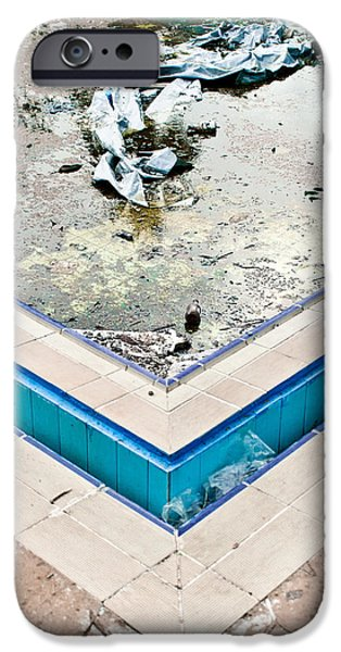Algae iPhone Cases - Derelict swimming pool iPhone Case by Tom Gowanlock
