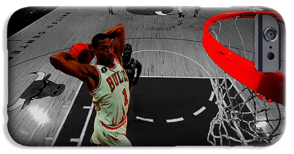 Chicago Bulls Mixed Media iPhone Cases - Derrick Rose Taking Flight iPhone Case by Brian Reaves