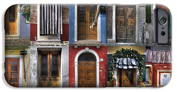 Travel Photographs iPhone Cases - doors and windows of Burano - Venice iPhone Case by Joana Kruse