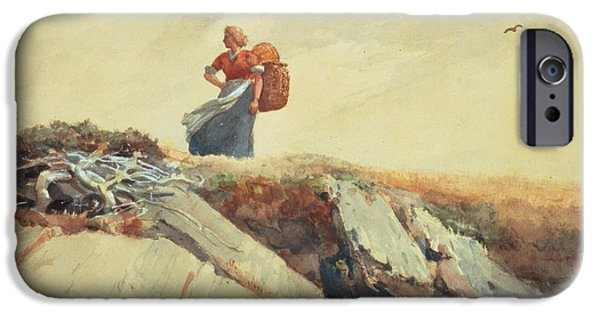 Apron iPhone Cases - Down The Cliff iPhone Case by Winslow Homer