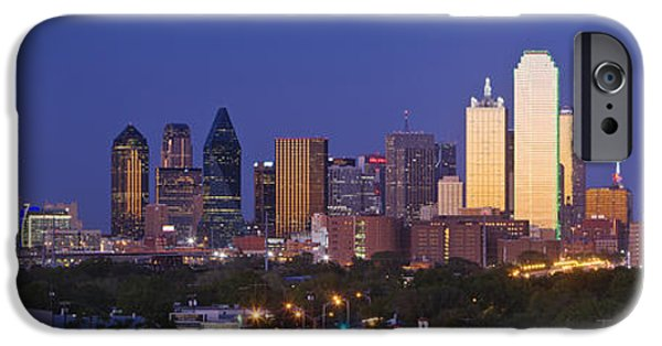Nobody Photographs iPhone Cases - Downtown Dallas Skyline at Dusk iPhone Case by Jeremy Woodhouse