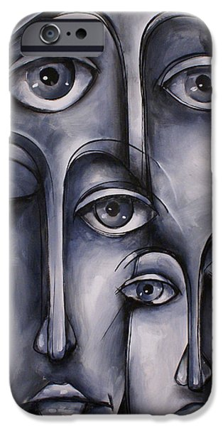 Monotone Paintings iPhone Cases - Dreamers iPhone Case by Michael Lang
