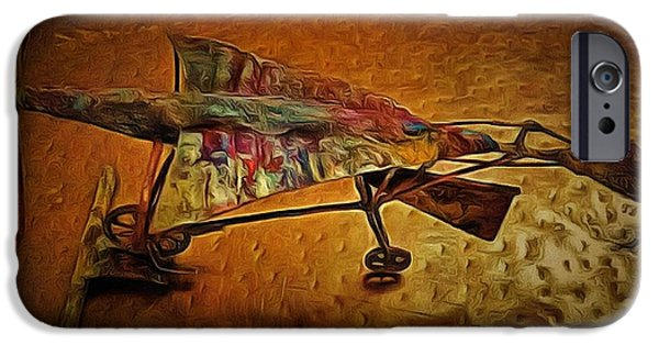 Transportation Sculptures iPhone Cases - Early Flying Machine iPhone Case by Mario Carta