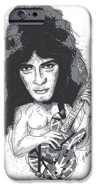 Van Halen iPhone Cases - Eddie Van Halen iPhone Case by Gary Bodnar
