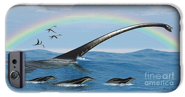 Birds iPhone Cases - Elasmosaurus Marine Reptile iPhone Case by Corey Ford