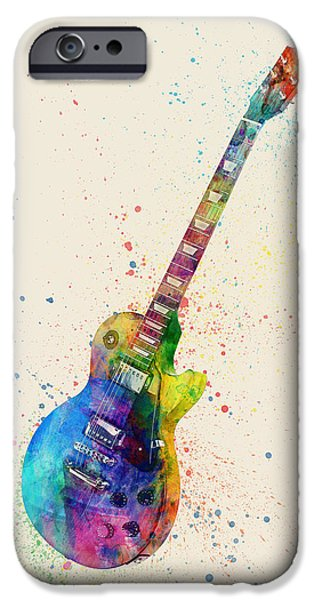 Strings Digital iPhone Cases - Electric Guitar Abstract Watercolor iPhone Case by Michael Tompsett
