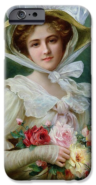 Bud iPhone Cases - Elegant lady with a bouquet of roses iPhone Case by Emile Vernon