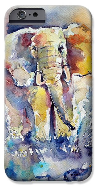 Elephants iPhone Cases - Elephant iPhone Case by Kovacs Anna Brigitta