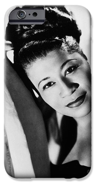 Hairstyle iPhone Cases - Ella Fitzgerald (1917-1996) iPhone Case by Granger