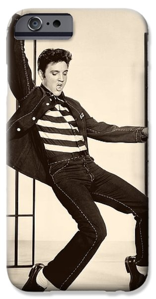 Recently Sold -  - 1950s Movies iPhone Cases - Elvis Presley in Jailhouse Rock 1957 iPhone Case by Mgm