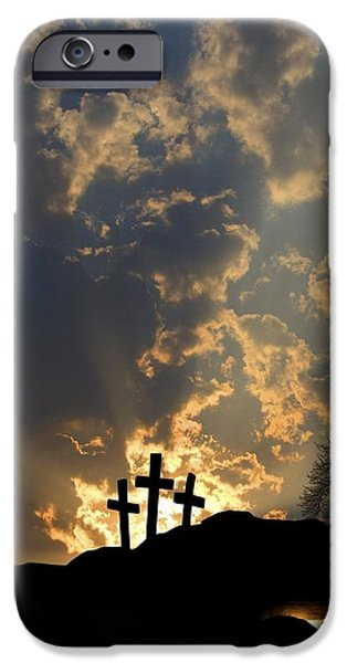 Miracle iPhone Cases - Empty Tomb And Three Crosses iPhone Case by Colette Scharf