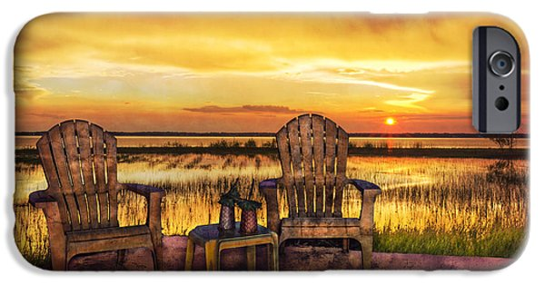 Adirondack Chairs On The Beach iPhone Cases - End of the Day iPhone Case by Debra and Dave Vanderlaan