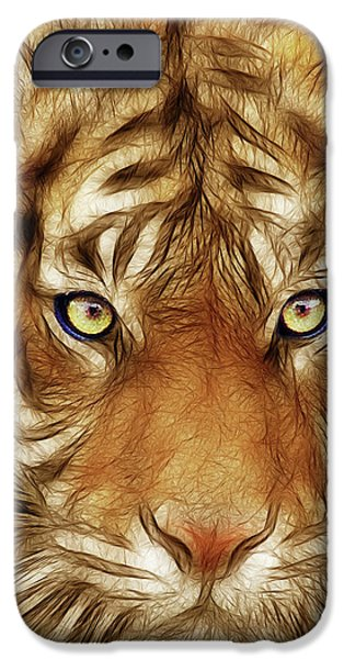 Eye Of The Tiger iPhone Cases - Eye of The Tiger iPhone Case by Wingsdomain Art and Photography