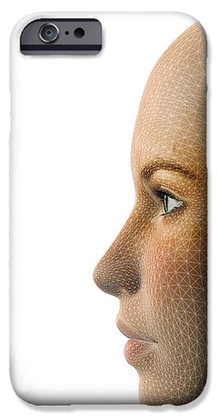 Face Recognition iPhone Cases - Facemapping, Artwork iPhone Case by Claus Lunau